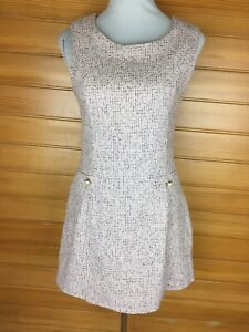 NWT  Miss Valley Pretty Pink Tweed Pattern Sleeveless Pinafore Dress Size 8