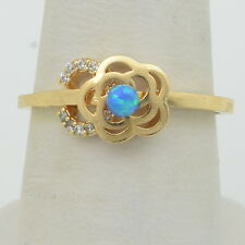Handmade 14K Gold Filled Ring Size 6.75 - 8mm Flower with 3mm Blue Fire Opal
