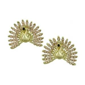 Brilliant Crystal Peacock with Fanned Tail Pierced Earring - REC580