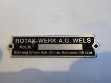 Typenschild Id-plate Schild Lohner sachs  Rotax 146 ccm s6