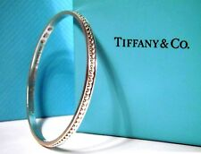 Tiffany & Co. Makers Bead Bangle Bracelet In Sterling Silver Rare Discontinued