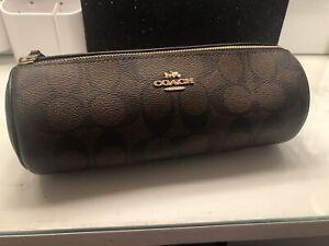 Coach Make Up Holder Brown Black Gold Brand New Bag MSRP $128