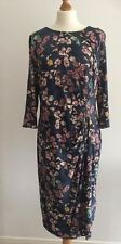 M&S LADIES SIZE 18 BLUE MIX FLORAL PRINT JERSEY DRESS WITH STRETCH