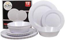 "Crown Dinnerwear 12 pcs. set Four person Dinner set 4 dinner plate 11"" +4 side p"