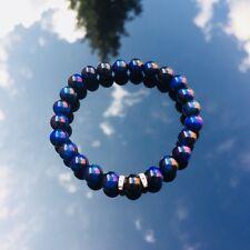 Natural Gemstone Blue Tiger Eye/Black Obsidian Onyx Bracelet Beaded Elasticated