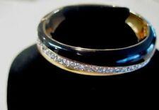 Daniel Swarovski Signed Hinged Vintage Cuff Goldtone Crystal Enamel Bracelet 729