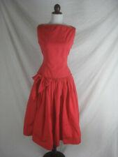 Vtg 50s 60s Designer Maggi Stover Red Womens Vintage Cotton Party Dress W 28