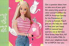 """ Contact ASPCA "" - Fashion Collectible Photo Card Mattel - Barbie Doll Postcard"