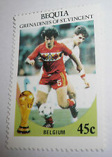 1986 FIFA World Cup Football MEXICO Bequia St. Vincent Grenadines Stamp BELGIUM
