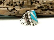 Navajo MENS Thunderbird Sterling Silver Turquoise Native American Size 10.5 Ring