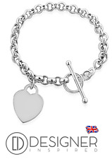 Silver Heart Tag Bracelet Sterling 925 T Bar Toggle Charm by Designer Inspired