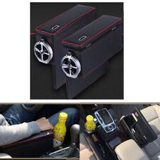 PU Leather Car Side Storage Box Insert Armrest Gap Filter Organizer Cup Holder