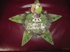 """#23- 13""""Antique German Embossed Die Cut Christmas Santa Bottle Brush Star Wreath"""