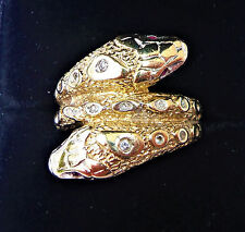 Vintage 9ct Gold Double Snake Ring with Ruby Eyes & Clear Stones, Size L 1/2