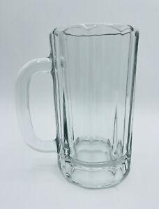 Libbey German Style Glass Beer Stein 14oz Super Mug 10 Panel Vintage Barware