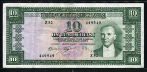 Turkey 1930, 10 Lira, Z32-449549, P159, VF