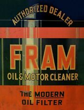 "TIN SIGN ""Fram Black""   Gas-Oil   Signs  Rustic Wall Decor"