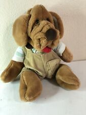 "Wrinkles Dog  Hand Puppet 18"" Plush Stuffed Boy Puppy Toy Vintage 1981"