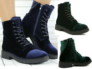NEW WOMENS COMBAT ARMY MILITARY BIKER FLAT LACE UP WORKER ANKLE BOOTS SIZE 3 , 4