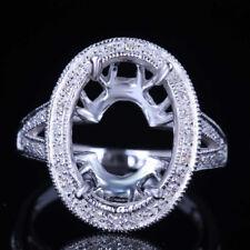 NEW Oval 15x10mm Diamond Engagement Wedding Semi Mount Fine Ring 10K White Gold