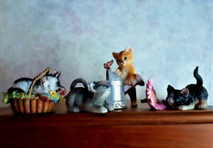 Playful Kittens Cute Cats Tabletop Figurines Shelf Sitters Set of 3