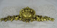 "14"" Antique French Gilded Bronze Furniture Pediment Decoration Flowers  Stamped"