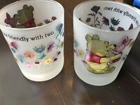 DISNEY WINNIE THE POOH AND PIGLET FLORAL  2 FROSTED GLASSES