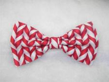 Christmas Bow tie / Red & White Holiday Candy Stripes / Pre-tied Bow tie
