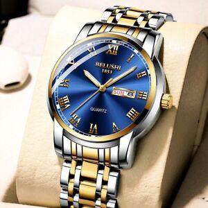 BELUSHI TOP BRAND  MEN WATCH Stainless Steel  Date Clock Waterproof Luxury
