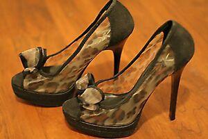 Kardashian Kollection Miami Heel Stiletto Peep Toe Shoe Animal Print Bow Black