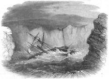 CANADA. Wreck of Kestrel, propeller ship, bay St Shott's, antique print, 1849