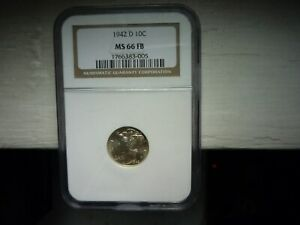 1942D(NGC)(MS66)(FULL BANDS)MERCURY SILVER DIME -TONING & LUSTER +++++!!!!!