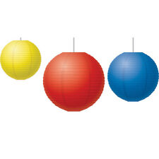 Red, Yellow & Blue Paper Lanterns, Pack of 3