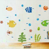 Cartoon Fish Bathroom Decor Wall Sticker Room Decal Art Kids Room Multicolor G9Z