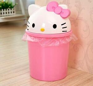 Cute Kitty Bedroom Home Office School Trash Can Waste Garbage Bin Wastebaskets