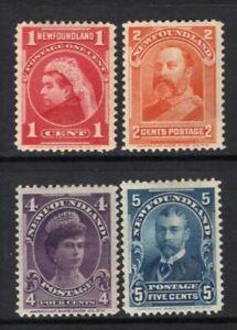 Newfoundland 1897-1901 Portraits #79,81,84,85 Mint CV$97