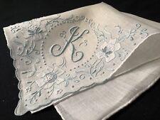 """#5928🌟MAGNIFICENT Vintage 40s Madeira BLUE Monogram """"K"""" Wedding Handkerchief"""