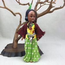 "Native American Indian Sleepy Eye Doll Vintage 7.5"" Green Feather in Hair"
