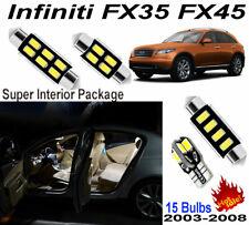 15pcs Super White LED Interior Light Kit For Infiniti FX35 FX45 2003-2008 Lamps