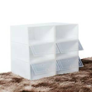 6-30X Foldable Durable Clear Plastic Shoe Storage Drawer Stackable Organiser