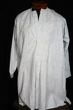 Rare Vintage 1920'S Français Long Rayé Coton Chemise sans Col Grande Taille