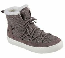 NEW SKECHERS Women Ankle Boots Winter Sneaker Knit WARM WRAPPERS Grey