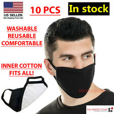 10 Pcs MASCARILLA Lavable Reutilizable transpirable de moda negro unisex de doble capa
