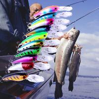 Lot 10PCS Minnow Fishing Lures Bass CrankBait Crank Fishing Bait Tackle Hooks