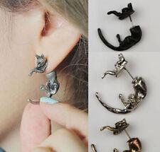superb cartoon colour 3D fox stud earring resin polymer statement gift UK black