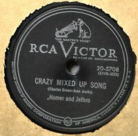 Homer and & Jethro Crazy Mixed Up Song 78 Comedy Novelty That Tired Run Down