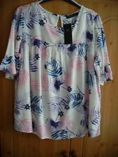 m&s short frill sleeve top new with tag 10 white pink purple next day post