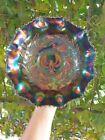 Antique Carnival Glass Black Piping Shrike Bowl 24cm