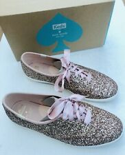 NIB Keds for Kate Spade New York Rose Gold Glitter Lace Up Canvas Sneakers Shoes