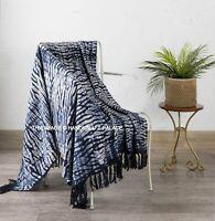 100% Cotton Shibori Fringed Lounge Sofa Bed Throw Rug Blanket 130x170 cm Indian